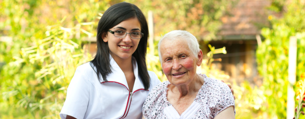 Old woman and her caregiver